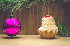 Cherry cupcake and toy Royalty Free Stock Images