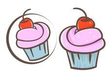 Cherry cupcake Stock Image