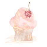 Cherry cupcake vector illustration hand drawn painted watercolor Royalty Free Stock Photos