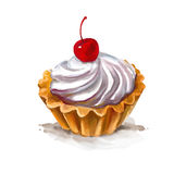 Cherry cupcake vector illustration    painted Royalty Free Stock Photo