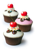 Cherry cupcakes Stock Image