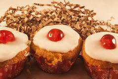 Cherry cupcakes Royalty Free Stock Photo