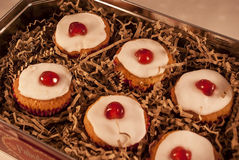 Cherry cupcakes Stock Photos