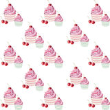 Cherry cupcakes pattern Royalty Free Stock Photo