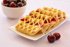 Cherry custard pastries Stock Image