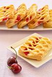 Cherry custard pastries Royalty Free Stock Images