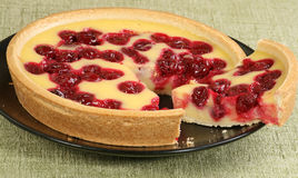 Cherry and custard tart Royalty Free Stock Images