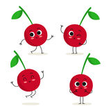 Cherry. Cute fruit character set isolated on white Royalty Free Stock Images