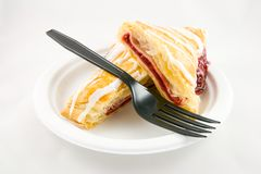 Cherry Danish with Fork Royalty Free Stock Photo