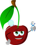 Cherry dentist holding teeth Stock Image