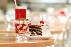 Cherry dessert. Sweet cherry torte and juice Royalty Free Stock Photography