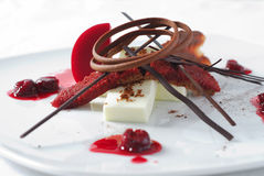 Cherry dessert with chocolate Stock Photos