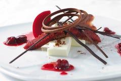 Cherry dessert with chocolate Stock Photos