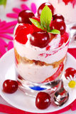 Cherry dessert with cream and jelly Royalty Free Stock Images
