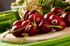 Cherry Dessert on cutting board Stock Photography