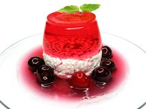 Cherry dessert with pudding and jelly Royalty Free Stock Photography