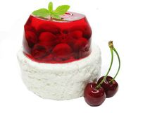 Cherry dessert with pudding and jelly Stock Photo