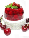 Cherry dessert with pudding and jelly Royalty Free Stock Photos