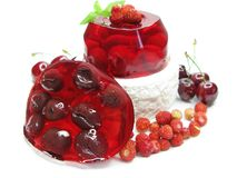 Cherry dessert with pudding and jelly Stock Photography
