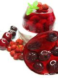 Cherry dessert with pudding and jelly Stock Photos