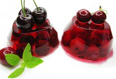 Cherry dessert with pudding and jelly Stock Image