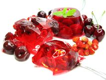 Cherry dessert with pudding and jelly Royalty Free Stock Image