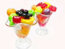 Cherry dessert with pudding and jelly fruits Stock Images
