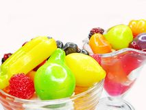 Cherry dessert with pudding and jelly fruits Royalty Free Stock Photography