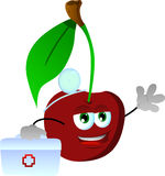 Cherry doctor with first aid kit Royalty Free Stock Images