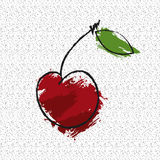 Cherry. Drawing cherry in grunge style on a white background with a pattern Royalty Free Stock Photos