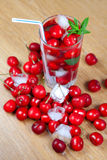 Cherry drink with ice and mint Royalty Free Stock Images