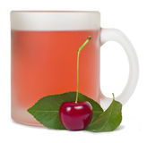 Cherry drink. A drink of red cherry glass in a frosted mug, isolated on white background Royalty Free Stock Photos