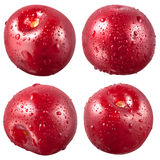 Cherry with drops isolated on white. Clipping path Stock Image