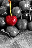 Cherries drying on a tea towel. Cherry drying on a tea towel with selective color Royalty Free Stock Photos