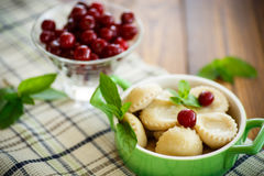 Cherry dumplings with mint Royalty Free Stock Photos