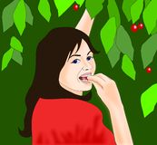Cherry Eating. Young beautiful brunette who eat Royalty Free Stock Photos