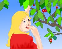 Cherry Eating Royalty Free Stock Photo