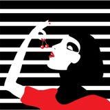 cherry eating woman Стоковое Изображение