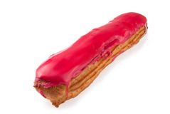 Cherry eclair. Isolated on a white background Stock Photos