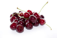Cherry en för platta white sött Arkivfoton