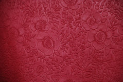 Cherry fabric with floral designs Royalty Free Stock Photography