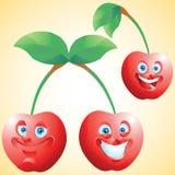 Cherry face expression cartoon character set Stock Photos