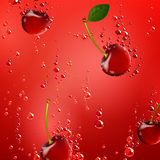 Cherry Falling in Liquid Stock Photos