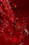 Cherry falling into the lot of juice Royalty Free Stock Images