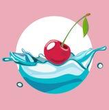Cherry falling in water splash Stock Image