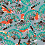 Cherry fan koi origami seamless pattern. This illustration is drawing cherry fan with koi fish in Japanese origami paper style with seamless pattern Stock Image