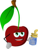 Cherry with feeding bottle Royalty Free Stock Image