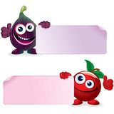 Cherry and Fig. Vector Cartoon Illustration Royalty Free Stock Photos