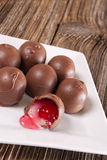 Cherry filled chocolate candy,dish. A white square dish filled with cherry filled chocolate candy Royalty Free Stock Photography