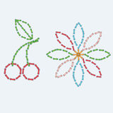 Cherry and flower  colorful  stitches vector Royalty Free Stock Photos